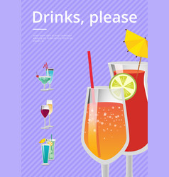 Drinks please poster with lemonade cocktail glass vector