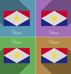 Flags Saba Set of colors flat design and long vector image