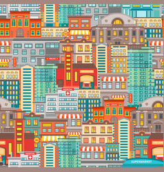 Flat cityscape seamless pattern vector