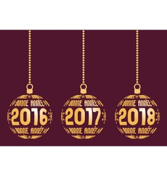 French new year elements for years 2016-2018 vector