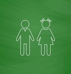 girl and boy computer symbol vector image