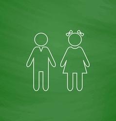 girl and boy computer symbol vector image vector image
