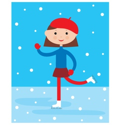 girl on a skating rink vector image