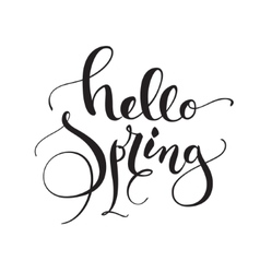 Hello spring greeting card design with simple vector