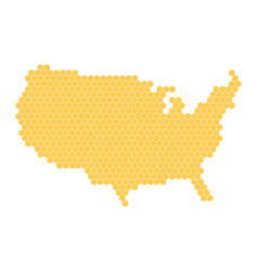 hexagonal mosaic in a shape of usa map yellow vector image