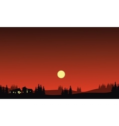 House at night in hills silhouette vector image vector image