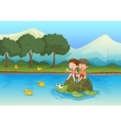 kids on tortoise vector image vector image