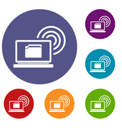 laptop and and wireless icons set vector image vector image