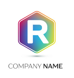 letter r logo symbol in the colorful hexagonal on vector image vector image