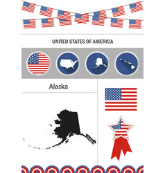 Map of alaska set of flat design icons vector
