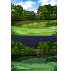 Nature scene with field and trees vector image vector image