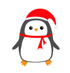 penguin bird on snowdrift red santa claus hat vector image