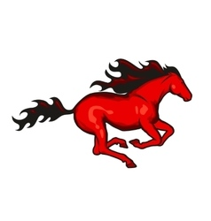 Red running horse vector image