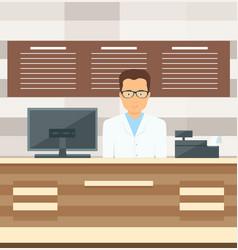 Salesman is standing near the cash register vector