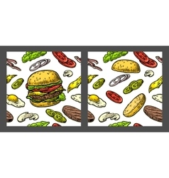 Seamless pattern burger and ingredients include vector
