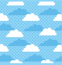 seamless pattern clouds rain and sky vector image vector image