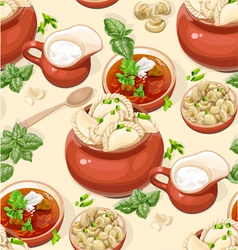 Seamless pattern of Ukrainian traditional food vector image vector image