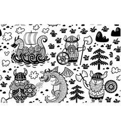 seamless pattern with vikings in monochrome style vector image