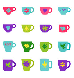 set of bright cups and mugs vector image