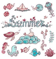 Set of sea doodle elements vector