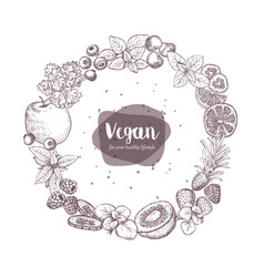 sketches of vegan food for cooking cards stickers vector image