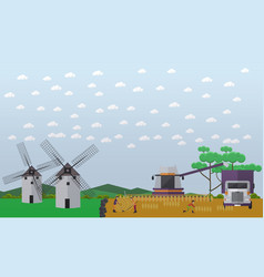 wheat harvesting concept in vector image