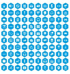 100 audio icons set blue vector