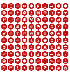 100 emotion icons hexagon red vector