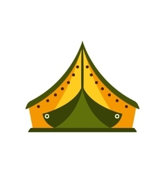 Yellow and green tarpaulin tent in camp camping vector