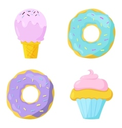 Cute sweet food icons set vector image