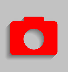 Digital camera sign  red icon with soft vector