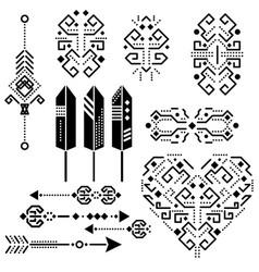Tribal aztec stencil elements vector