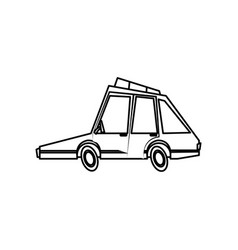Car transport motor vehicle comic line vector