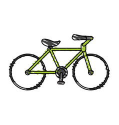 Color crayon stripe cartoon sport bicycle vector