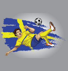 sweden soccer player with flag as a background vector image