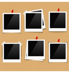 Photo frames on bulletin board vector