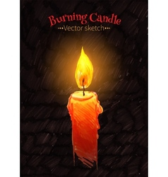 Felt pen drawing of burning candle vector
