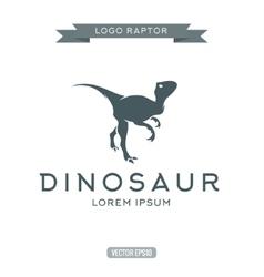 Dinosaur raptor reptile flat plain logo icon vector