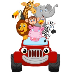 Cartoon happy animal with red car vector image