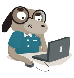 Nerd dog using a computer vector
