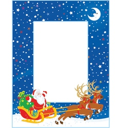 Border with christmas sleigh of santa claus vector