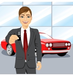 Automobile salesman holding the key vector