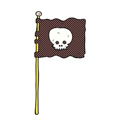 Comic cartoon waving pirate flag vector