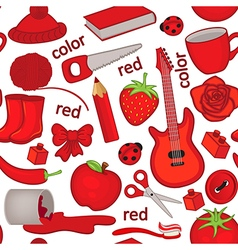 Seamless pattern with red objects vector