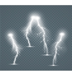 Set of the isolated realistic lightnings with vector