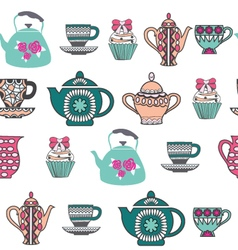 Background of tea time tea cups pots and cupcake vector