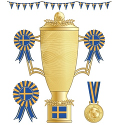 Sweden football trophy vector