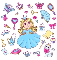 Cute princess set vector
