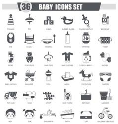 Baby black icon set Dark grey classic icon vector image