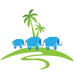 Elephants with palms logo vector image
